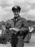 1950s Man Postman Holding Out Letter Photographic Print