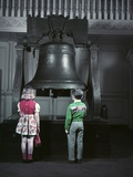 1950s Two Little Kids Stand before Liberty Bell When Still in Independence Hall Photographic Print