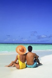 1990s Man and Woman Sitting on the Beach Facing the Water Mopion Island, Grenadines, West Indies Photographic Print