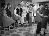 1950s-1960s Teen Couples Having Party Dancing in Rec Room Photographic Print