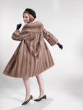 1960s Woman Wearing Fur Mink Coat Black Hat Shoes Gloves Turning to Look over Shoulder Photographic Print