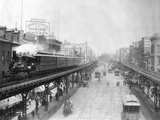 Elevated Trains in Manhattan's Bowery Reproduction photographique
