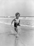 1930s Little Toddler Running in Surf Photographic Print