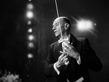 1960s-1970s Portrait of Man in White Tie and Tails Conducting an Orchestra in Symphony Hall Photographic Print