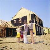 1970s Family in Front of a House under Construction Photographic Print