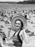 1930s Vacation Montage Portrait Woman in Bathing Suit Wearing Large Straw Hat Photographic Print