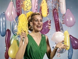 1960s Retro Party New Year Balloons Woman Streamers Dress Happy Photographic Print