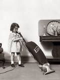 1930s Little Girl Vacuuming with Eureka Electric Vacuum Cleaner Photographic Print