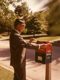 1960s Man Business Man Suit Hat Mailing Letter Mailbox Mail Drop Box Post Postal Suburban Street Photographic Print