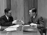 1930s Two Men in Office Exchanging Pen Signing Contract Deal Photographic Print