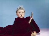 1960s Baby Dressed as Royal Queen Velvet Robe Cloak Cape Rhinestone Tiara Crown and Scepter Wand Photographic Print