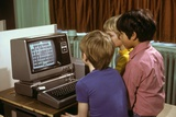 1980s 3 Elementary School Boys Operating Early Radio Shack TRS80 Computer Playing Game Photographic Print