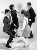 1960s Pair of Young Teenage Couples Dancing the Twist Photographic Print