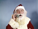 1960s Santa Claus Talking on Telephone Retro Photographic Print
