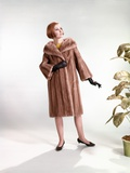 1960s Stylish Woman Wearing Fur Mink Coat Full Length Fashion Photographic Print