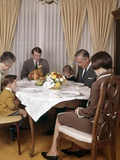 1960s-1970s Three Generation Family Saying Grace Prayer at Thanksgiving Dinner Photographic Print