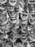 1960s-1970s Montage of Mouths of All Sexes and Ages Photographic Print