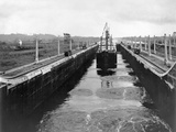 Ship in Gatun Lower Locks Photographic Print