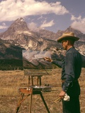1950s-1960s Man Artist Smoking Pipe Painting Mountain Landscape Grand Tetons Wyoming Photographic Print