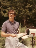 1970s Man in Casual Blue Stripe Seersucker Pants Taking Mail Photographic Print
