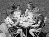 1950s Boys and Girls at Table Eating Cookies and Ice Cream for Birthday Party Photographic Print