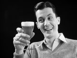 1930s Man Holding Glass of Beer Photographic Print