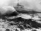 Oil Rig in Stormy Sea Photographic Print