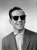 1950s-1960s Portrait of Blind Man Wearing Sports Jacket Shirt and Very Dark Protective Sunglasses Photographic Print