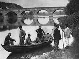 Fishermen Boating on the River Tweed by Coldstream Bridge Photographic Print