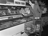 1950s Woman Shopping Frozen Food Section of Grocery Store Photographic Print