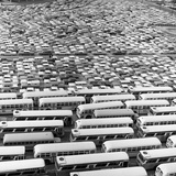 1960s Aerial of Crowded Stadium Parking Lot with Separate Sections for Buses and Cars Photographic Print