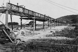 Men Build a Railway Bridge Photographic Print