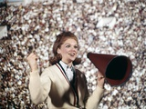 1960s Female Cheerleader Cheering Red Megaphone Wearing Sweater Photographic Print