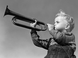 1940s Boy Blowing Bugle Outdoor Photographic Print