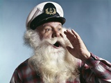 1960s Senior Man Full White Beard Wear Ship Captains Hat Shouting with Hand Cupped to Mouth Photographic Print