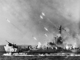 American LSM-R Launches Rockets at Okinawa Photographic Print