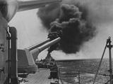 Battleship Makes Smoke Screen Photographic Print