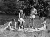 1930s Two Couples Having Summer Picnic with Food and Drink Spread Out on Blanket Photographic Print