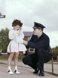 1960s Man Police Officer Comforting Crying Scared Little Lost Girl in Suburban Neighborhood Photographic Print