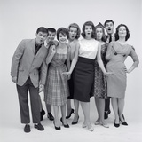 1960s 8 Fashionable Teens Standing Full Length Looking Amazed Photographic Print