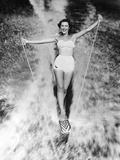 1950s Woman in Two Piece Bathing Suit Aquaplaning Water Skiing Photographic Print