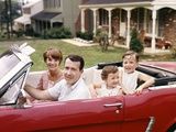 1960s Suburban Family Sitting in Red Ford Convertible Mustang Photographic Print