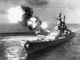 U.S.S. Missouri Firing its Guns Photographic Print