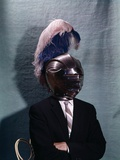 1960s Businessman Wearing 16th Century Medieval Helmet with Visor Closed Blue White Feather Photographic Print