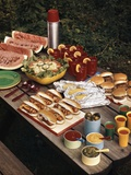 1950s Picnic Table Top Full of Food Corn Hot Dogs Hamburgers Watermelon Salad Thermos Condiments Photographic Print