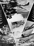 World War II Victory in the Air Montage in Shape of V American Flag in Center Reproduction photographique
