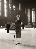 1950s Fashionable High Class Woman Alone Train Station Umbrella Waiting Lonely Photographic Print