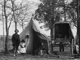 19th Century Gypsy Camp Family Father Mother Daughter in Front of Tent Next to Wagon Photographic Print