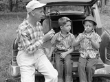 1950s-1960s Father Two Young Sons with Fishing Rods Photographic Print