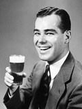 1940s Man Holding Glass of Beer Photographic Print